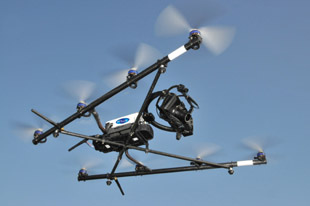 Octokopter a remotely controlled unmanned drone in operation